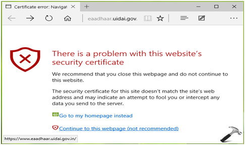 FIX] There Is A Problem With This Website's Security Certificate