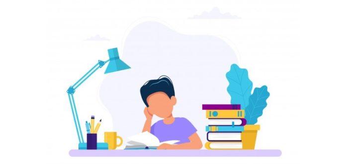 Boy studying illustration