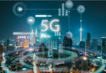 5G Technology illustration with city highlights