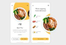 Food delivery app design with illustration