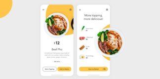 Food delivery app design with illustration