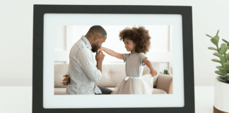 Skylight framing displaying a picture of father and his daughter