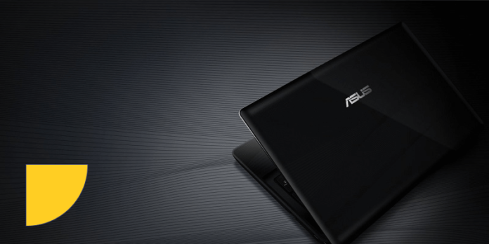 Asus laptop with a black background