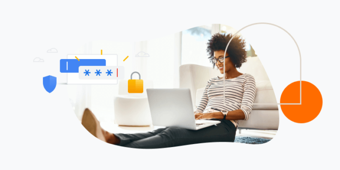 Password manager illustration with a lady using her laptop