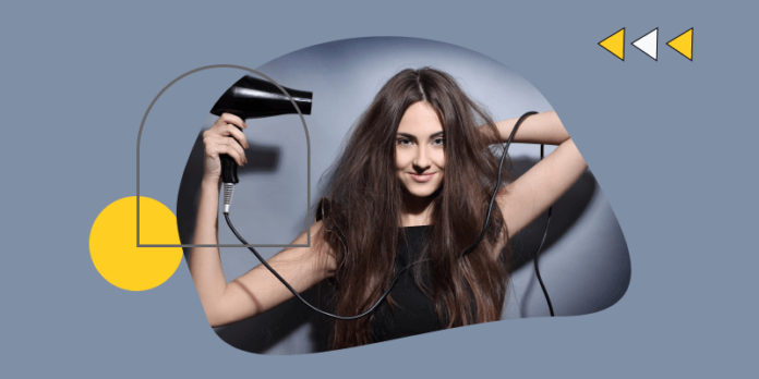 A girl drying her hair