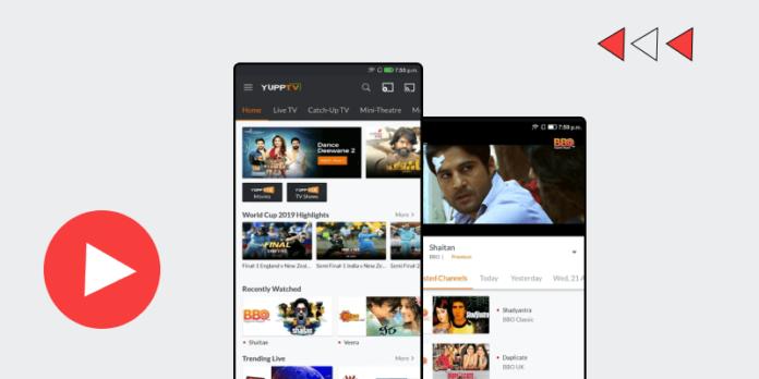 Yupp tv mobile app screens